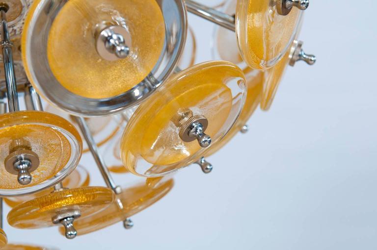 Contemporary Italian Venetian Flush Mount Blown Murano Glass, Gold 24-K, Mazzega, 20th For Sale