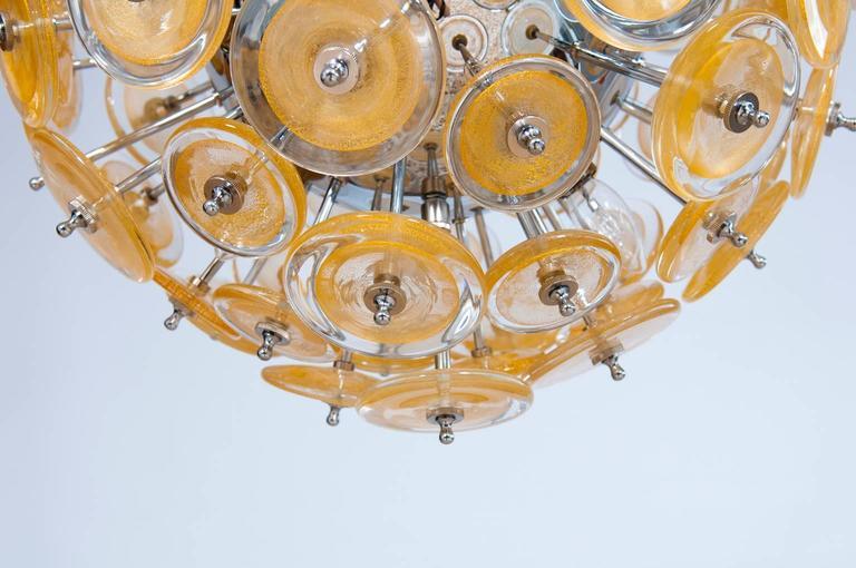 Italian Venetian Flush Mount Blown Murano Glass, Gold 24-K, Mazzega, 20th For Sale 1