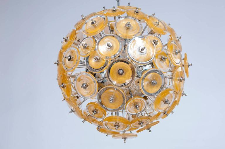 Mid-Century Modern Italian Venetian Flush Mount Blown Murano Glass, Gold 24-K, Mazzega, 20th For Sale