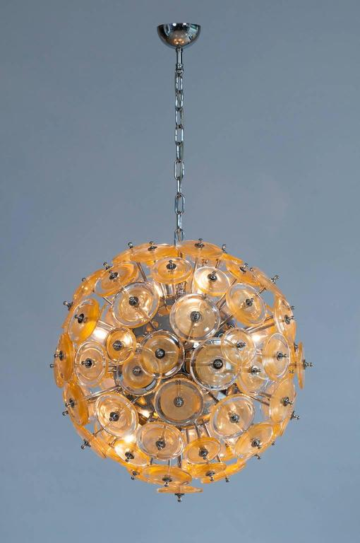 Italian Venetian Flush Mount Blown Murano Glass, Gold 24-K, Mazzega, 20th For Sale 4