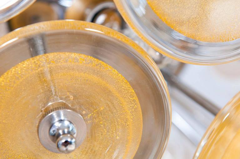 Italian Venetian Flush Mount Blown Murano Glass, Gold 24-K, Mazzega, 20th For Sale 2