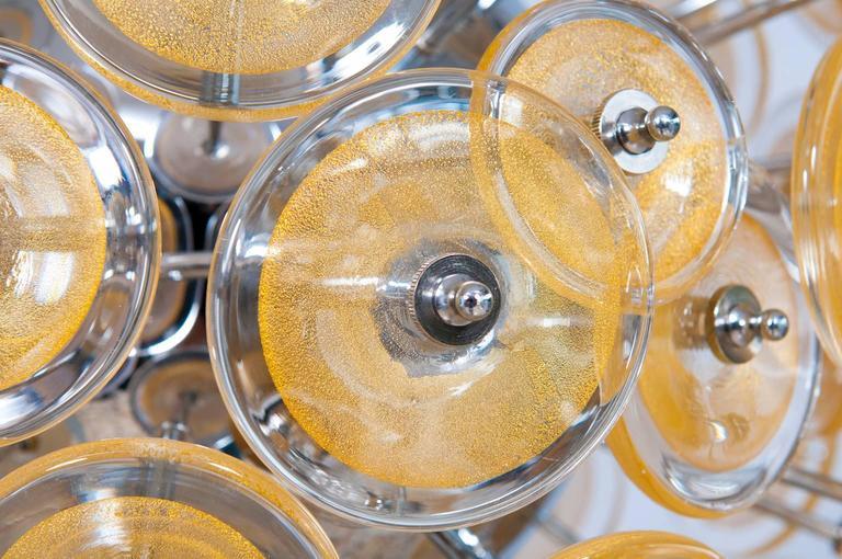 Italian Venetian Flush Mount Blown Murano Glass, Gold 24-K, Mazzega, 20th For Sale 3