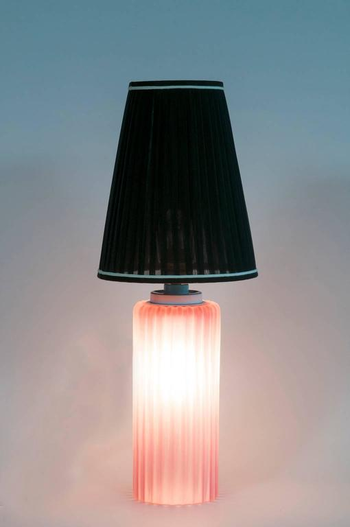 Italian Venetian, Table Lamp, Blown Murano Glass, Pink Digging, Cenedese, 1970s For Sale 2
