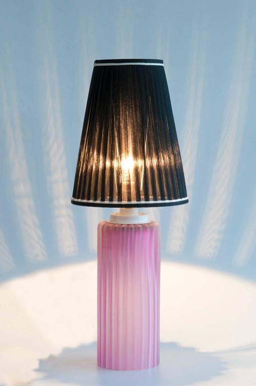 Italian Venetian, Table Lamp, Blown Murano Glass, Pink Digging, Cenedese, 1970s For Sale 3