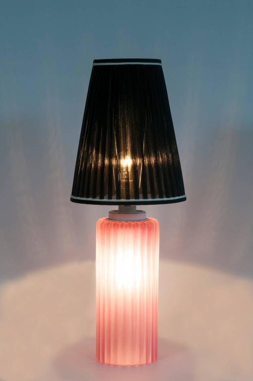 Italian Venetian, Table Lamp, Blown Murano Glass, Pink Digging, Cenedese, 1970s For Sale 4