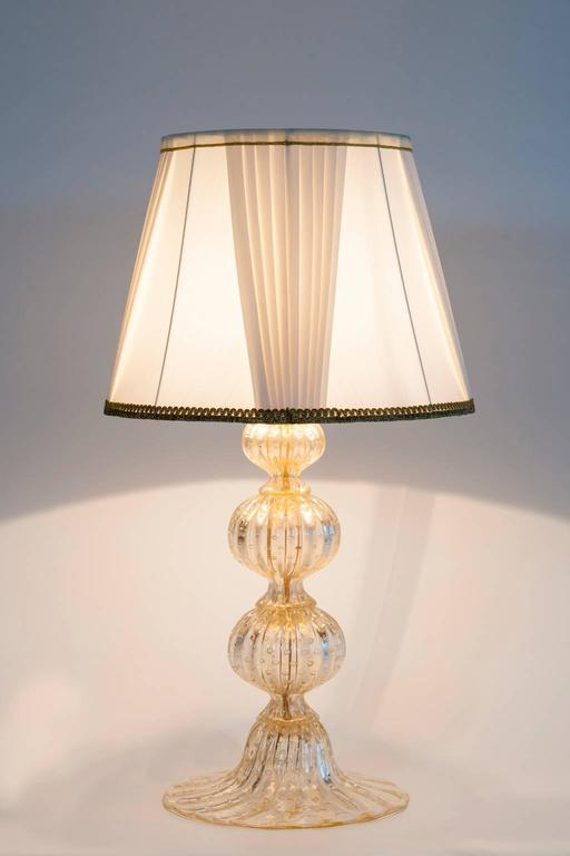 Pair of Italian Murano Glass Gold Table Lamp, Barovier & Toso, circa 1970s For Sale 3