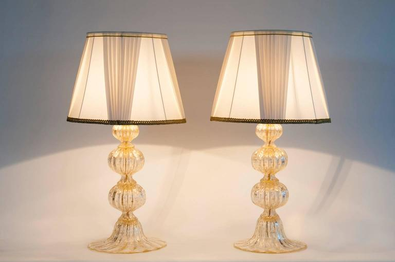 Pair of Italian Murano Glass Gold Table Lamp, Barovier & Toso, circa 1970s For Sale 4