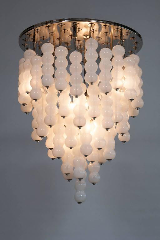 Italian Venetian, Chandelier, blown Murano Glass, White Chains, Mazzega, 1990s 3