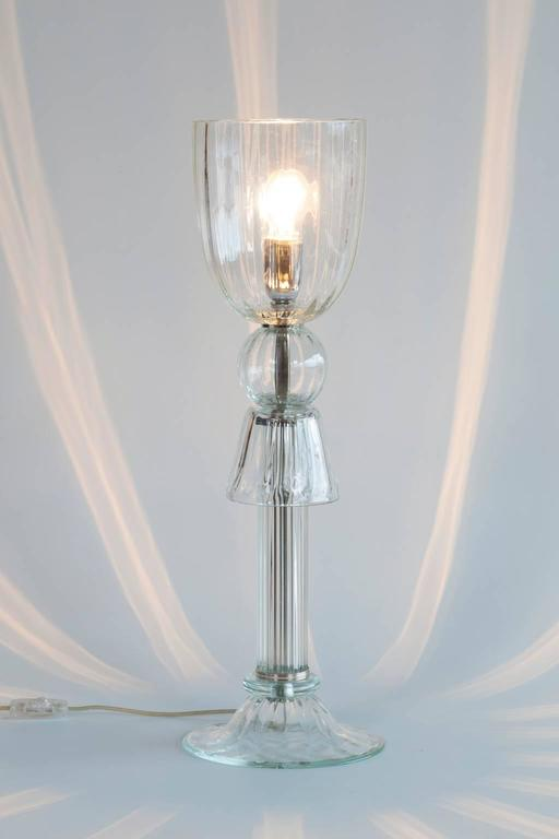 Pair of Italian Venetian Table Lamps in Murano Glass clear color, 1990s Italy For Sale 3