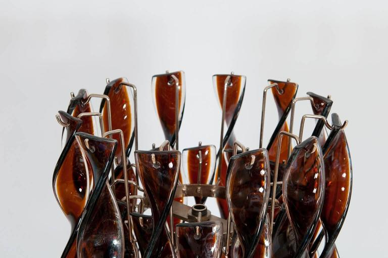Italian Floor Lamp in blown Murano Glass curly Brown and clear elements, 1980s For Sale 2