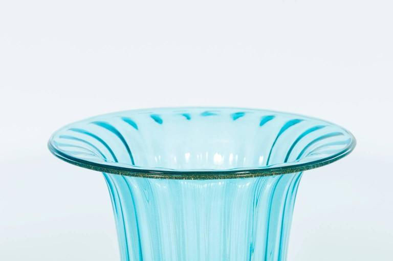 Italian Vase in Murano Glass Light Blue and Gold 1980s For Sale 1