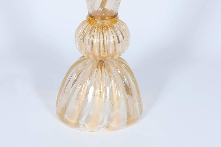 Hand-Crafted Gold Italian Venetian Table Lamp in Murano Glass, 1980s For Sale