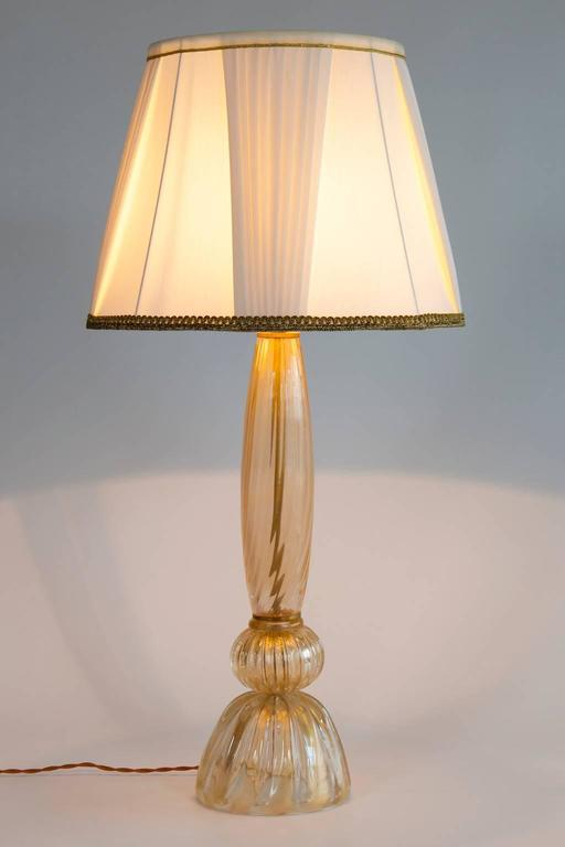 Gold Italian Venetian Table Lamp in Murano Glass, 1980s For Sale 1