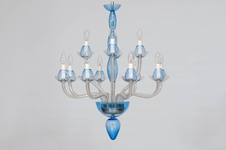 Italian Venetian,Chandelier, blown Murano Glass, Transparent & Light-Blue, 1990s 3