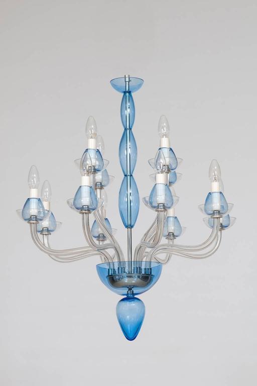 Modern Italian Venetian,Chandelier, blown Murano Glass, Transparent & Light-Blue, 1990s