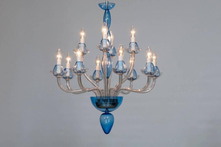 Italian Venetian,Chandelier, blown Murano Glass, Transparent & Light-Blue, 1990s 4