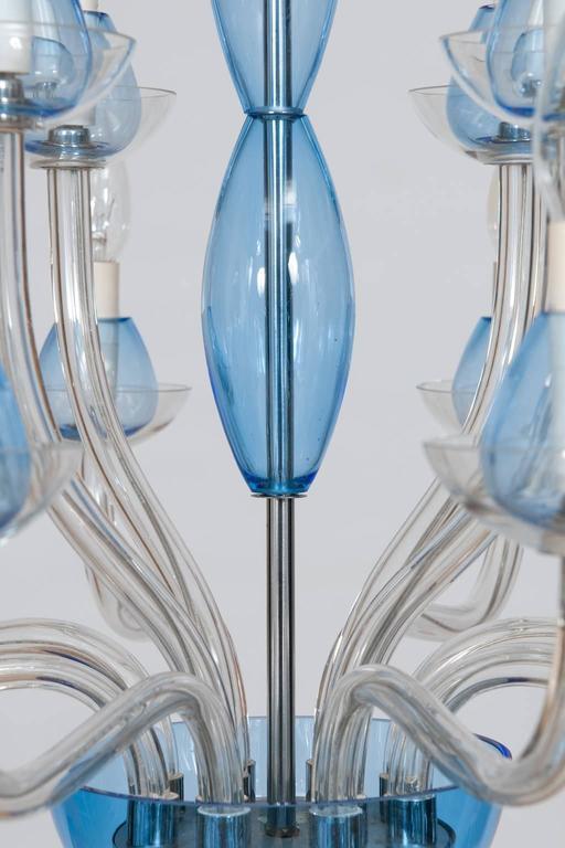 Italian Venetian,Chandelier, blown Murano Glass, Transparent & Light-Blue, 1990s 1