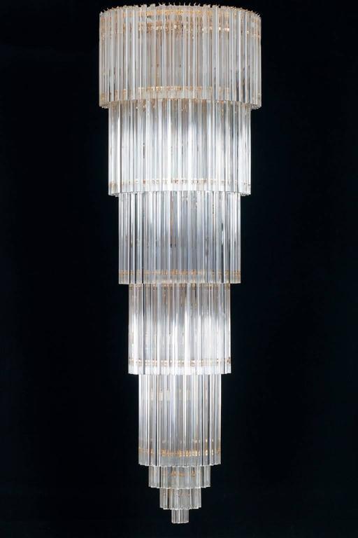 Italian Chandelier In Murano Glass Transparent 24 Karat