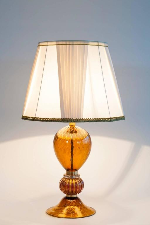 Italian Table Lamp in Blown Murano Glass Amber & 24-Karat Gold 1980s For Sale 4