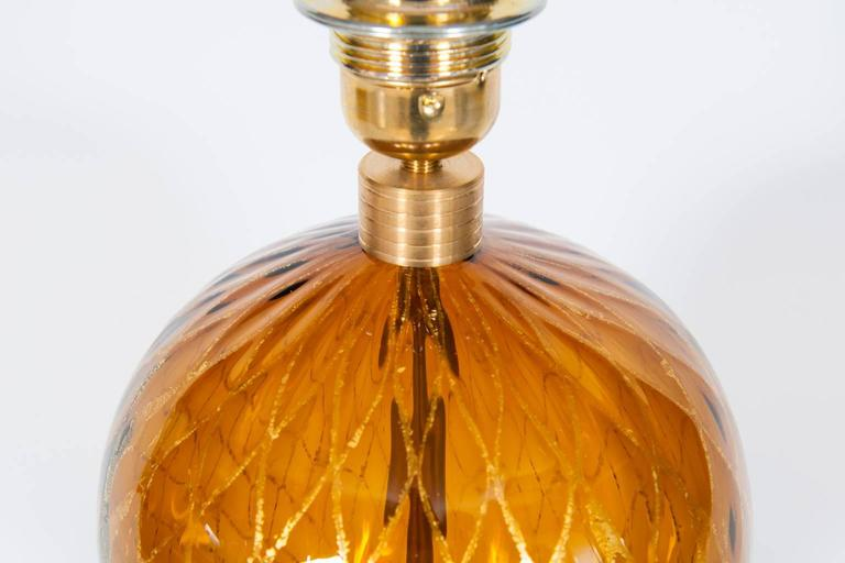 Italian Table Lamp in Blown Murano Glass Amber & 24-Karat Gold 1980s For Sale 2