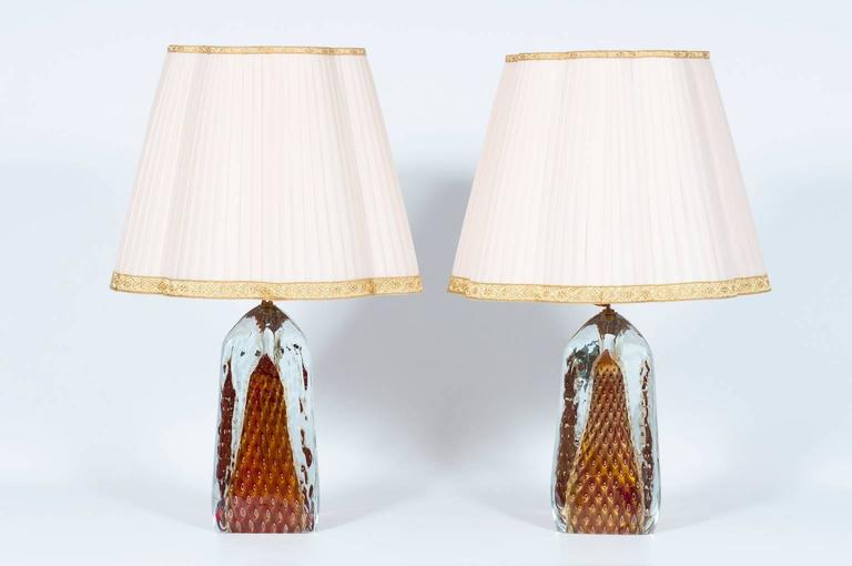 Pair of Italian Table Lamps in Murano Glass Red with 24-Karat Gold 2