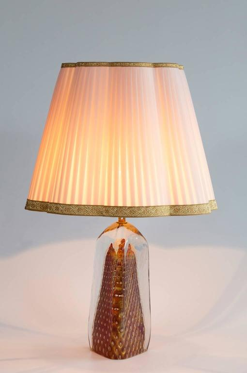 Pair of Italian Table Lamps in Murano Glass Red with 24-Karat Gold 9
