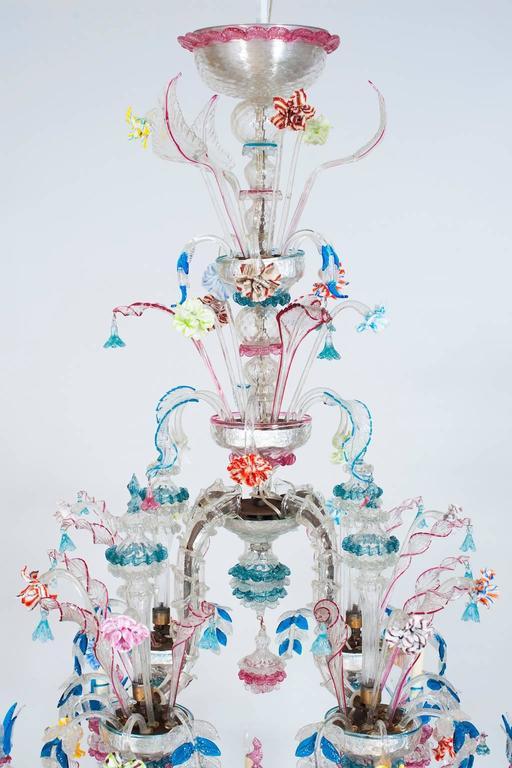 Hand-Crafted Italian Venetian, CaRezzonico Chandelier, blown Murano Glass, G. Ferro, 1960s For Sale