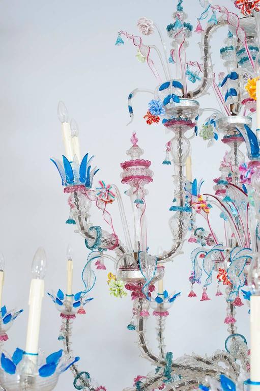 Italian Venetian, CaRezzonico Chandelier, blown Murano Glass, G. Ferro, 1960s In Excellent Condition For Sale In Villaverla, IT