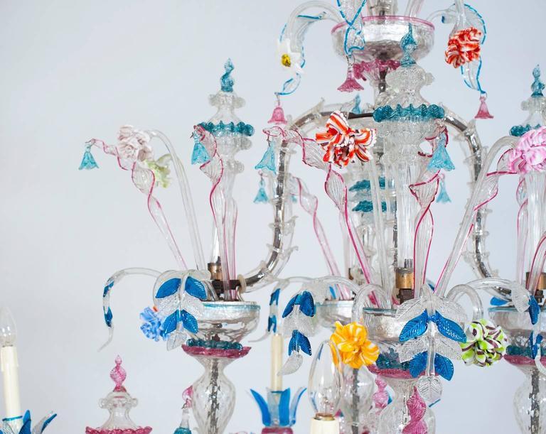 Mid-20th Century Italian Venetian, CaRezzonico Chandelier, blown Murano Glass, G. Ferro, 1960s For Sale