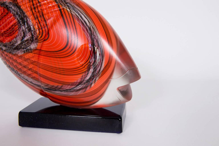 Hand-Crafted Italian Fish Sculpture in Blown Murano Glass Red Opaque black handcarved, 1990s For Sale
