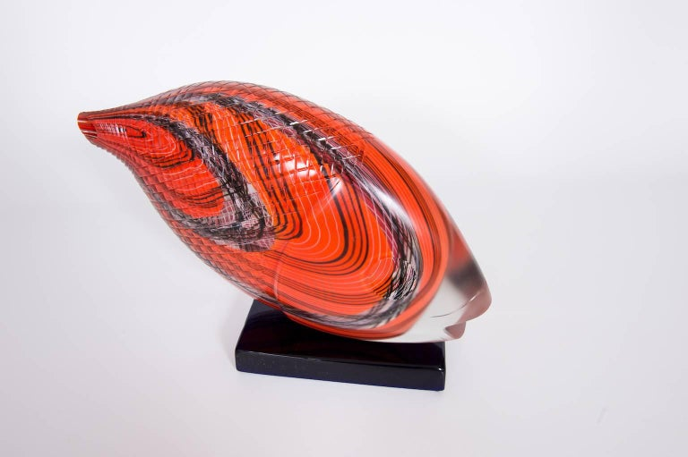 Late 20th Century Italian Fish Sculpture in Blown Murano Glass Red Opaque black handcarved, 1990s For Sale