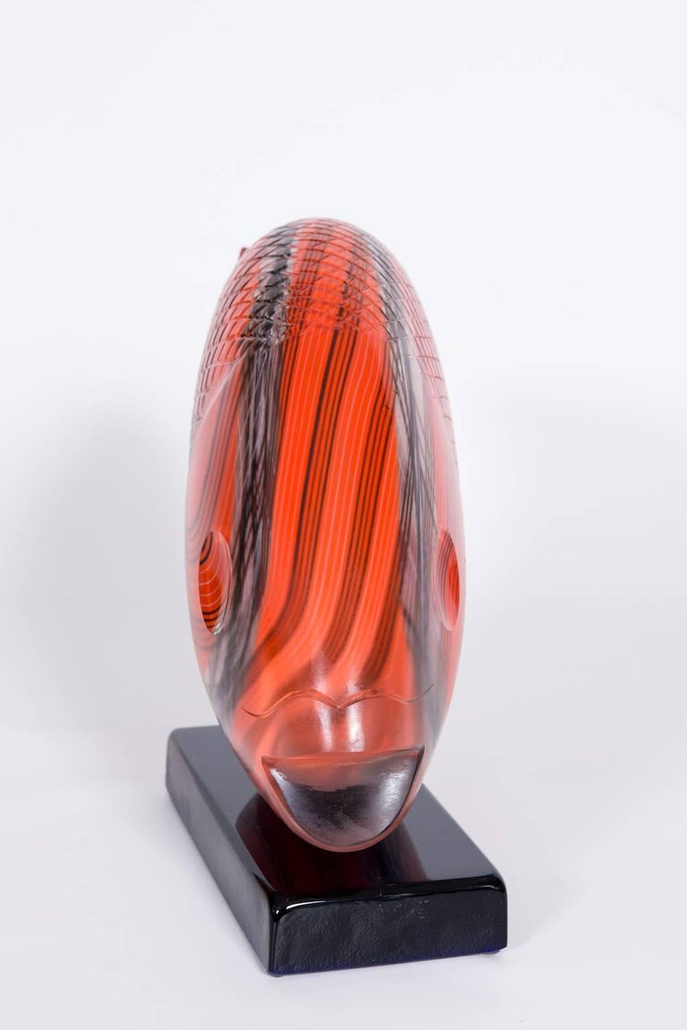 Italian Fish Sculpture in Blown Murano Glass Red Opaque black handcarved, 1990s For Sale 1