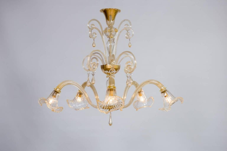Italian Chandelier In Murano Glass And 24 Karat Gold With