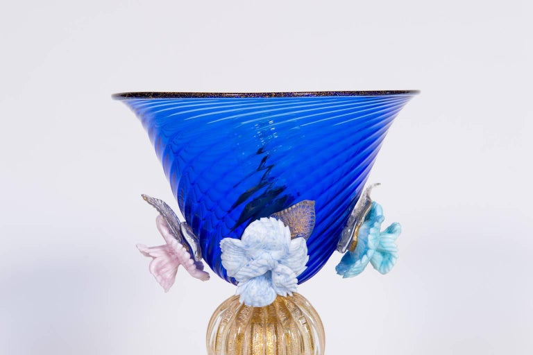 Italian Table Lamp in Blue and 24-Karat Gold Murano Glass, 1980s For Sale 2