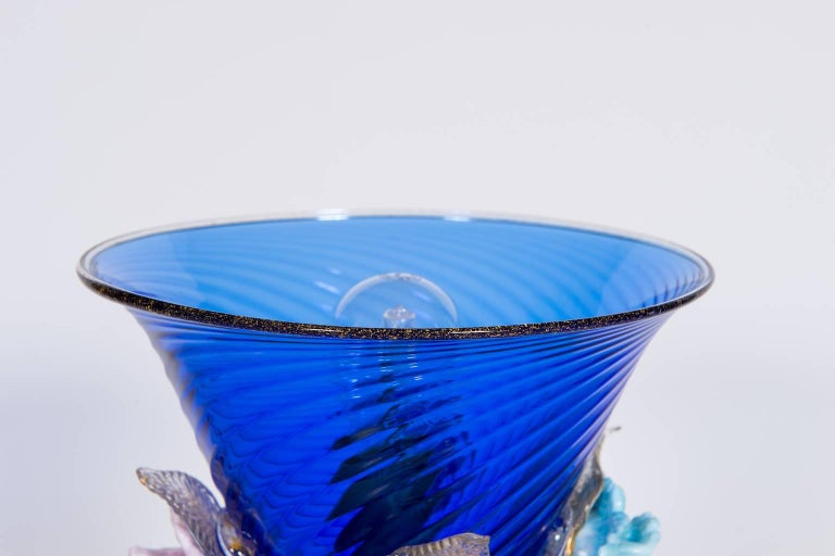 Italian Table Lamp in Blue and 24-Karat Gold Murano Glass, 1980s For Sale 4