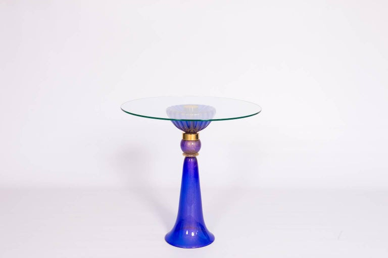 Hand-Crafted Italian Cocktail or Dessert Table in Blue Murano Glass and 24-Karat Gold, 1990s For Sale