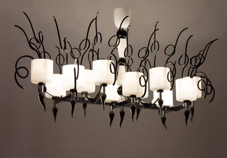 Curly Chandelier black and white in blown Murano Glass contemporary Italy For Sale 3