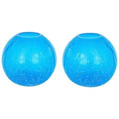 "Pair of Italian Murano Blown Glass ""Spheres"" Vases by Cenedese"