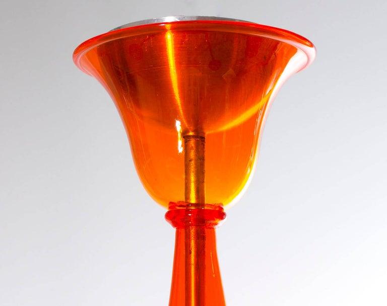 Modern Italian Venetian Chandelier in blown Murano Glass, Orange, 21st Century For Sale 3