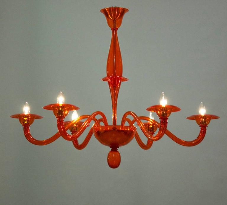 Modern Italian Venetian Chandelier in blown Murano Glass, Orange, 21st Century For Sale 5