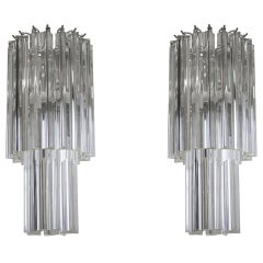 Italian Venetian Pair of Chandeliers, Blown Murano Glass, Triedro Camer G, 1960s