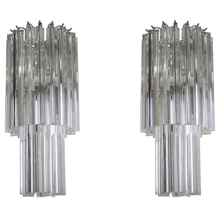 Italian Venetian Pair of Chandeliers, Blown Murano Glass, Triedro Camer G, 1960s For Sale