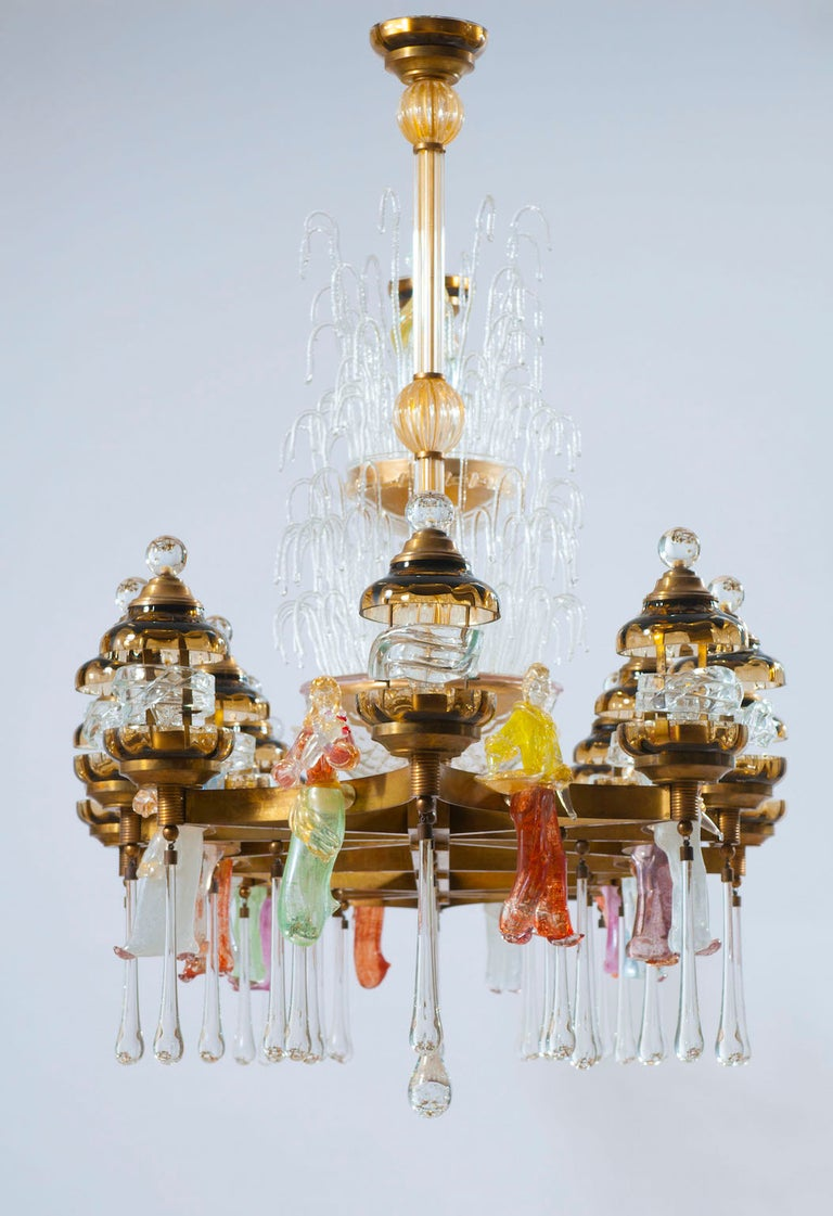 Art Deco Italian Chandelier in Blown Murano Glass Colorful Statues and brass frame 1950s For Sale