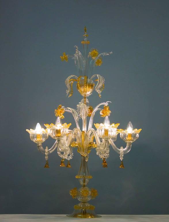 Italian Venetian, Table Lamp Flambeau, Blown Murano Glass, Amber White, 1990s For Sale 4