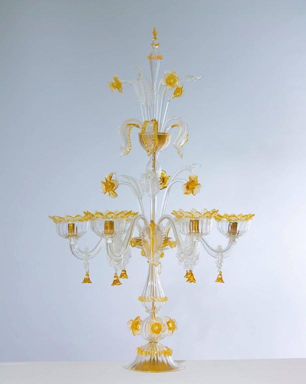 Art Deco Italian Venetian, Table Lamp Flambeau, Blown Murano Glass, Amber White, 1990s For Sale