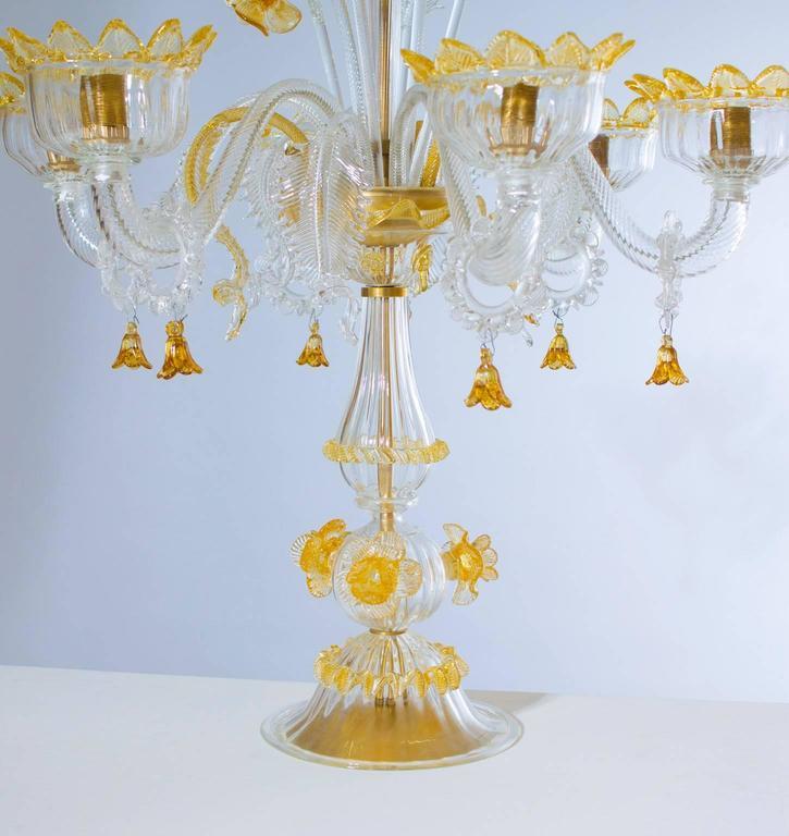 Hand-Crafted Italian Venetian, Table Lamp Flambeau, Blown Murano Glass, Amber White, 1990s For Sale
