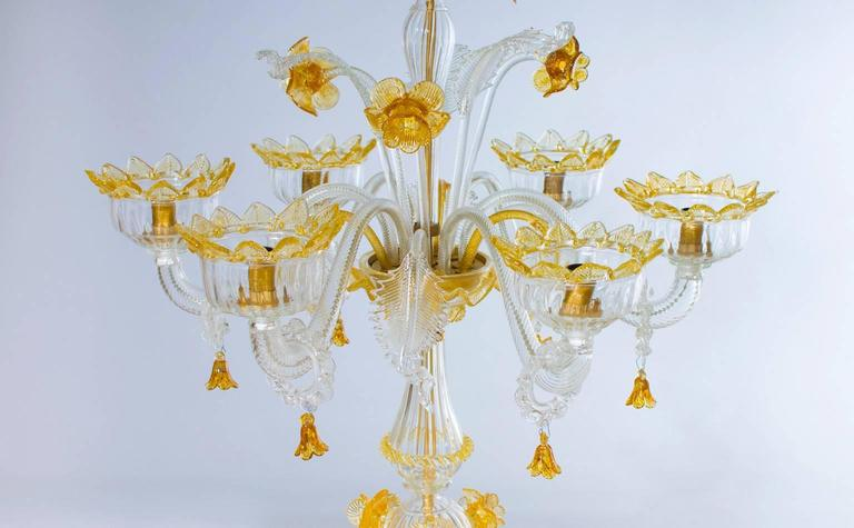 Italian Venetian, Table Lamp Flambeau, Blown Murano Glass, Amber White, 1990s For Sale 1