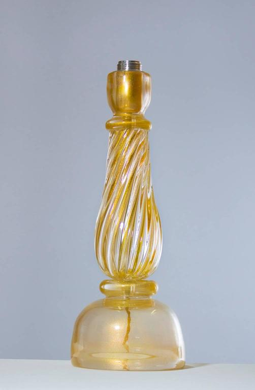 Art Deco Italian Massive Pair of Table Lamps in Murano Glass, Gold 24-Karat For Sale