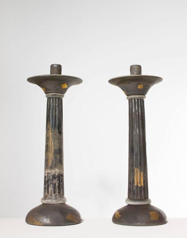 Art Deco Italian Venetian, Pair of Candlestick, Blown Murano Glass, Gold Grey Cenedese For Sale