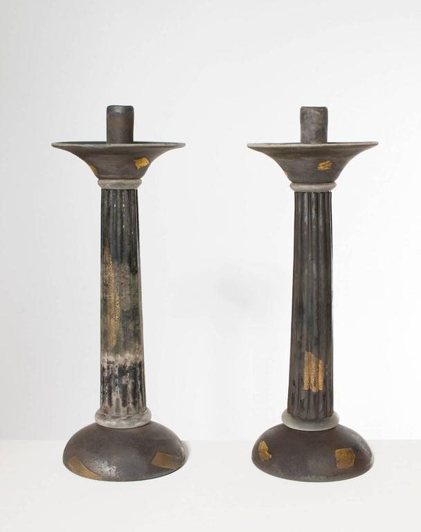 Hand-Crafted Italian Venetian, Pair of Candlestick, Blown Murano Glass, Gold Grey Cenedese For Sale